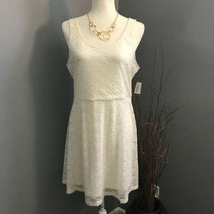 2/$10❗️Ivory White Sleeveless Lace Dress